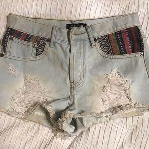 Boho denim shorts
